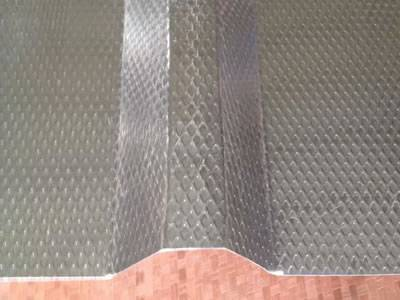 The picture shows one corrugated sheet, with diamond shape on the surface, and the corrugated place presents trapezoid shape.