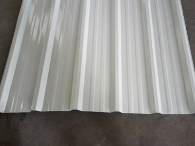 There is one piece of white steel roof tile with six corrugations.